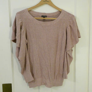 Express Cold Shoulder Ruffle Sweater Dusty Rose